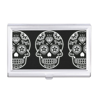 Black and White Sugar Skull Diamond Business Card Holder