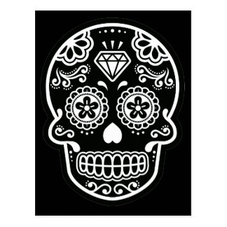 Black and White Sugar Skull Diamond Postcard
