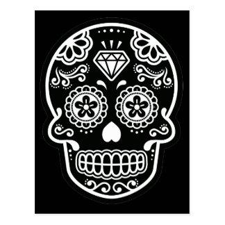 Black and White Sugar Skull Diamond Postcard