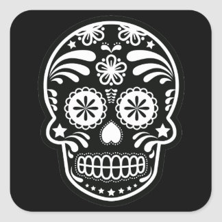 Black and White Sugar Skull Flower Square Sticker