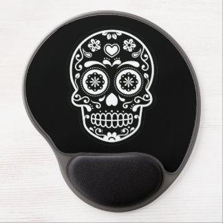 Black and White Sugar Skull Heart Gel Mouse Pad