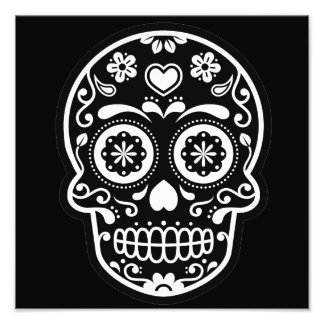 Black and White Sugar Skull Heart Photo Art