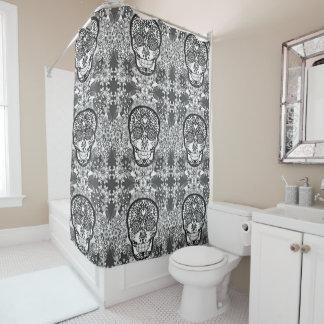 Black and White Sugar Skull Pattern Shower Curtain