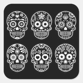 Black and White Sugar Skull Square Sticker
