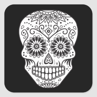 Black and White Sugar Skull Square Sticker