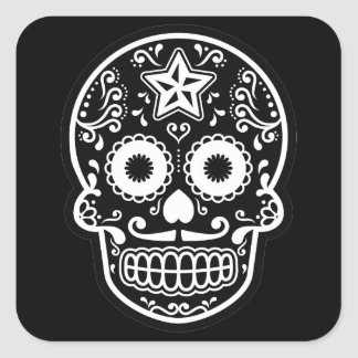 Black and White Sugar Skull Star Square Sticker