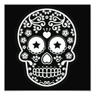Black and White Sugar Skull Starry Eyes Photograph
