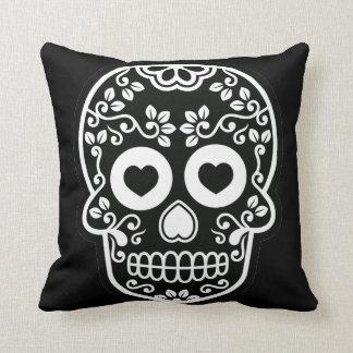Black and White Sugar Skull Vine Pillow