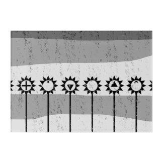 Black and white sun flower pattern acrylic print
