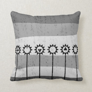 Black and white sun flower pattern cushion