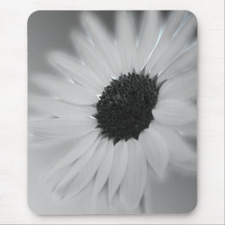 black and white sunflower mouse pad