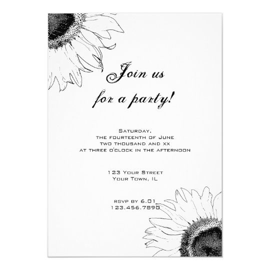Black and White Sunflower Party Invitation