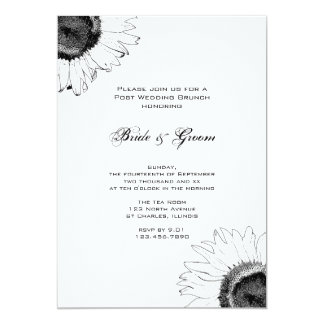 Black and White Sunflower Post Wedding Brunch Card