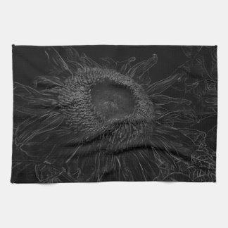 Black And White Sunflower Sketch Design Tea Towel