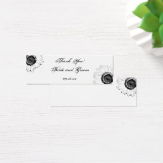 Black and White Sunflower Wedding Favor Tags Mini Business Card