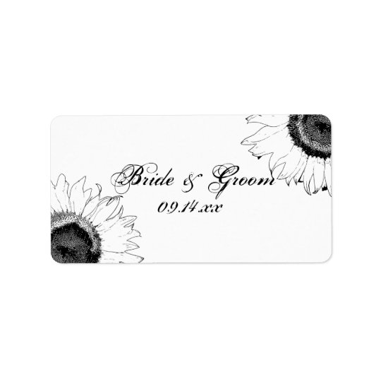 Black and White Sunflower Wedding Favour Tag