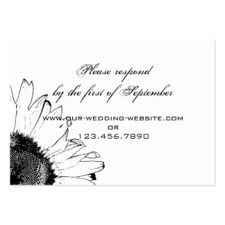 Black and White Sunflower Wedding Response Card Business Card Templates