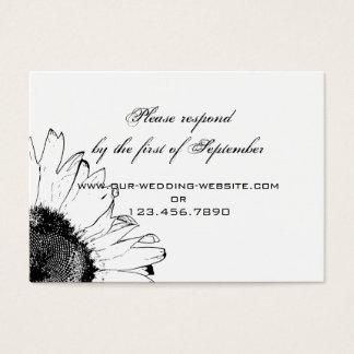 Black and White Sunflower Wedding RSVP Card