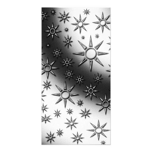 Black and white suns pattern custom photo card