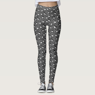 Black and White Swan and Floral Pattern Leggings