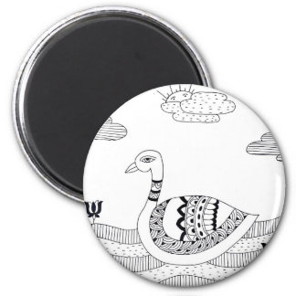 Black and white swan doodle 6 cm round magnet