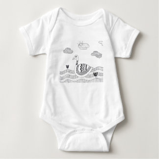 Black and white swan doodle baby bodysuit