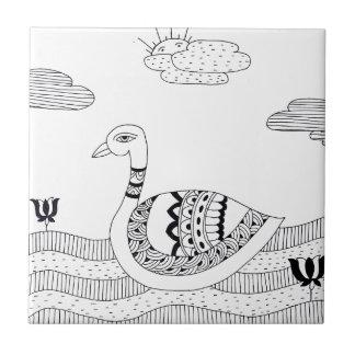 Black and white swan doodle ceramic tile