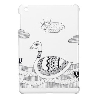 Black and white swan doodle cover for the iPad mini