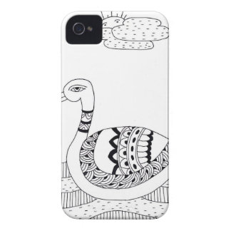 Black and white swan doodle iPhone 4 case