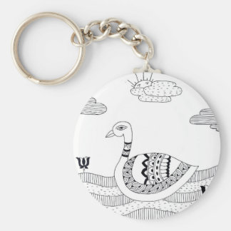 Black and white swan doodle key ring
