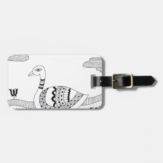 Black and white swan doodle luggage tag