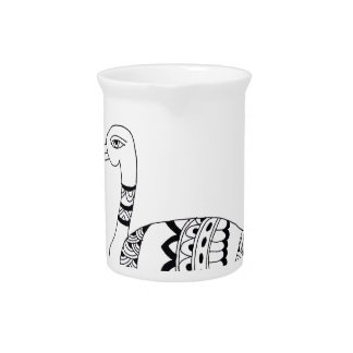Black and white swan doodle pitcher