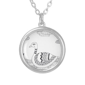 Black and white swan doodle silver plated necklace