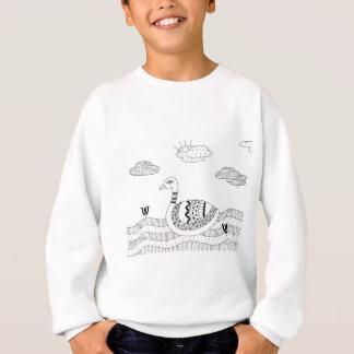 Black and white swan doodle sweatshirt