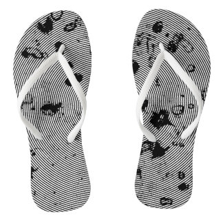 Black and White Swirl Abstract Pattern Thongs