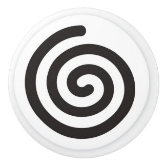 BLACK AND WHITE SWIRL CERAMIC KNOB
