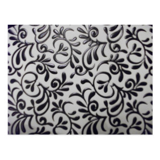 Black and White Swirl Damask Desgin Postcard