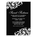 Black and White Swirl Flourish Sweet 16 Birthday Personalised Invitations
