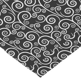 Black and White Swirl Short Table Runner