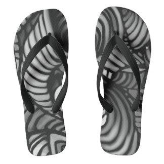 Black and White Swirl Thongs