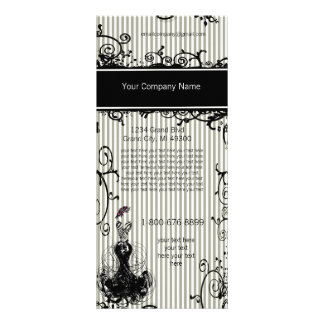 Black and White Swirled Striped Rack Card