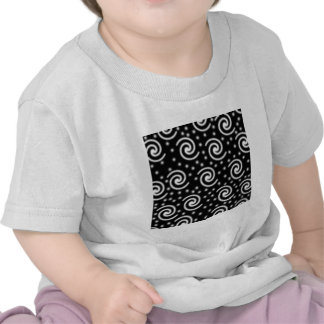 Black and White Swirls and Dots. Tees
