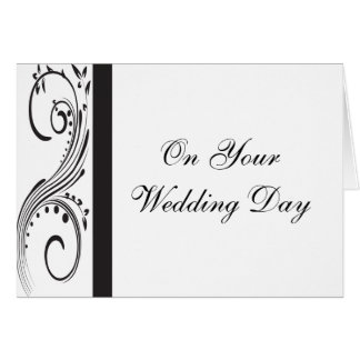 Black and White Swirls Blended Family Wedding Card