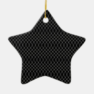 Black and White Swirls Ceramic Star Decoration