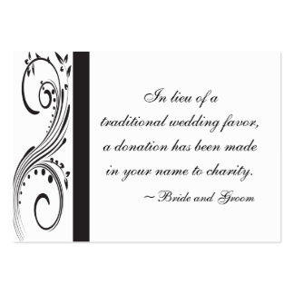 Black and White Swirls Wedding Charity Favor Card Pack Of Chubby Business Cards