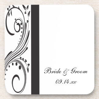 Black and White Swirls Wedding Coaster