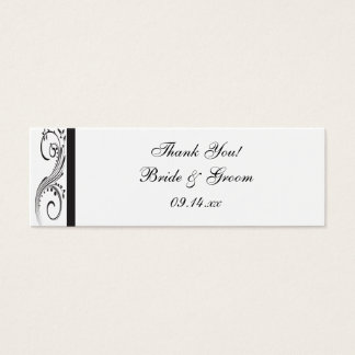 Black and White Swirls Wedding Favor Tags Mini Business Card