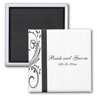 Black and White Swirls Wedding Square Magnet