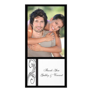 Black and White Swirls Wedding Thank You Picture Card
