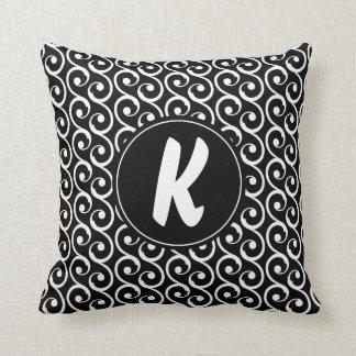 Black and White Swirls with Custom Monogram Cushion